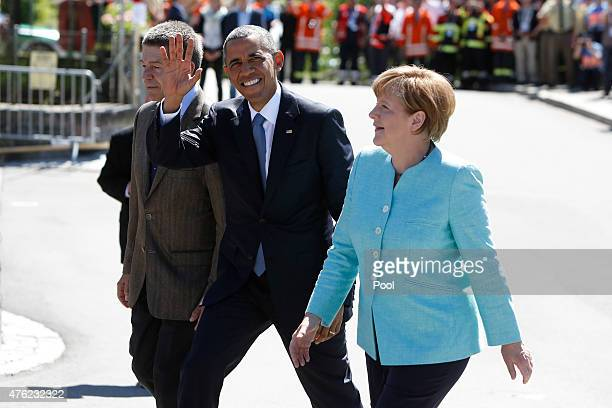 S President Barack Obama is welcomed by German Chancellor Angela Merkel and her husband Joachim Sauer prior the summit of G7 nations on June 7 2015...