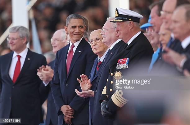 US President Barack Obama Italian President Girgio Napolitano Slovak President Ivan Gasparovic King Harald V of Norway and other leaders attend the...