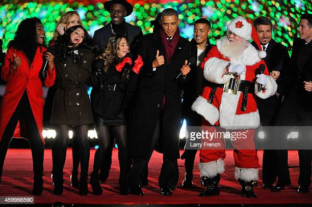 President Barack Obama joins the festivities on stage to end the National Christmas Tree at the National Park Foundation and Google's 'Made with...