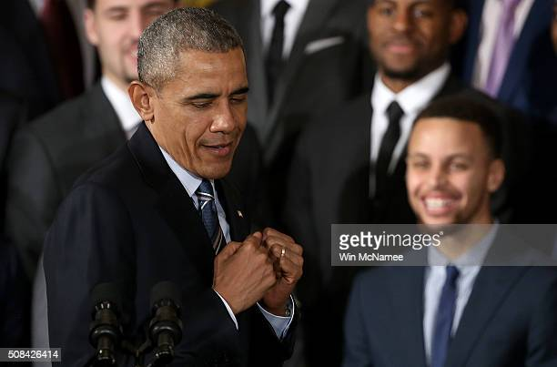 S President Barack Obama jokes while demonstrating 'clowning' when talking about Stephen Curry the 2015 National Basketball Association MVP during an...