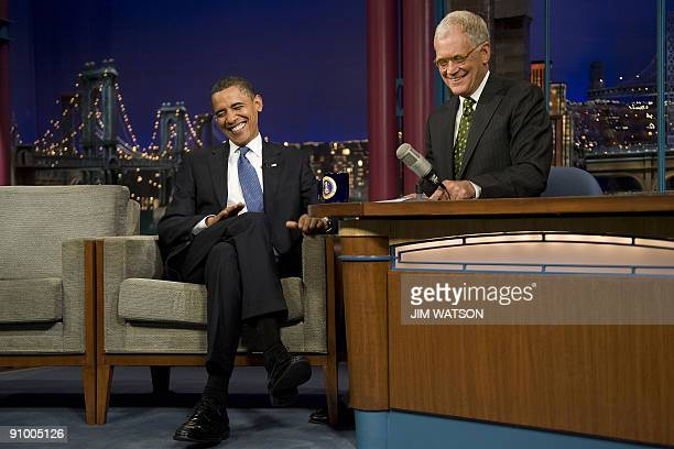 US President Barack Obama jokes with David Letterman during a taping of the Late Show with David Letterman in New York on September 21 2009 AFP...