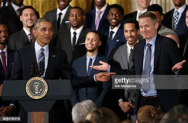 S President Barack Obama jokes with Golden State Warriors coach Steve Kerr during an event with the team in the East Room of the White House on...