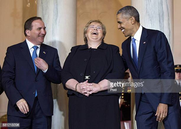 President Barack Obama jokes with Norway Prime Minister Erna Solberg and Sweden Prime Minister Stefan Lofven during an arrival ceremony in the Grand...