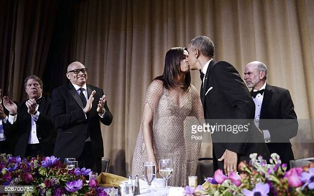 President Barack Obama kisses First Lady Michelle Obama after speaking at the White House Correspondents' Association annual dinner on April 30 2016...