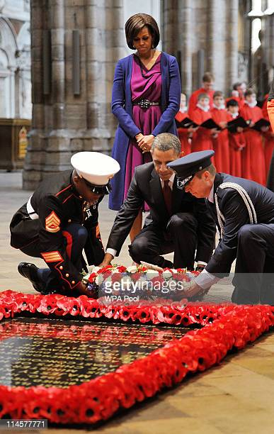President Barack Obama lays a wreath at the tomb of the Unknown Soldier in Westminster Abbey on May 24 2011 in London England The 44th President of...