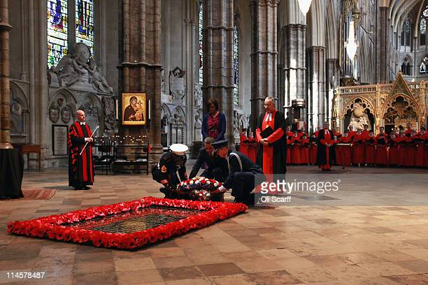 President, Barack Obama lays a wreath at the tomb of the Unknown Soldier in Westminster Abbey on May 24, 2011 in London, England. The 44th President...