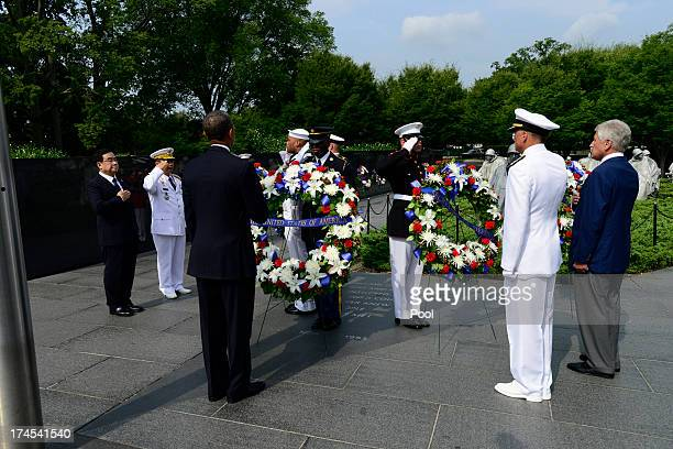 President Barack Obama lays a wreath prior to speaking at the 60th Anniversary of the Korean War Armistice at the Korean War Veterans Memorial on...