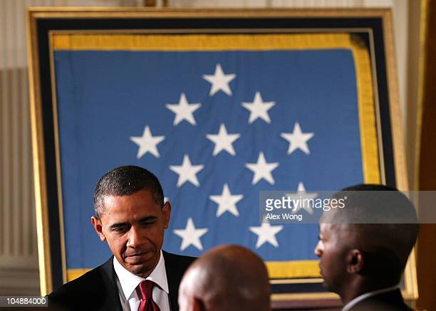 S President Barack Obama leaves after an East Room presentation ceremony of a Medal of Honor October 6 2010 at the White House in Washington DC Army...