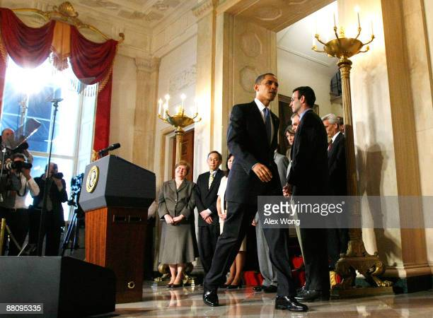 S President Barack Obama leaves after he spoke about the Chapter 11 bankruptcy filing by General Motors as Chair of the Council of Economic Advisers...