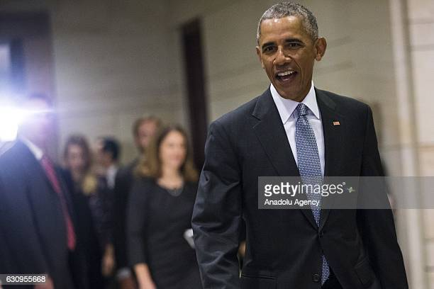 S President Barack Obama leaves after meeting with Democratic members of the House and Senate to discuss how to protect the Affordable Care Act from...