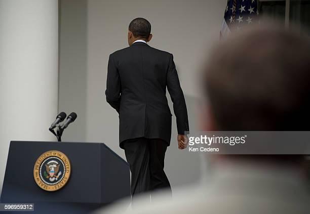 President Barack Obama leaves the podium after delivering remarks in the Rose Garden of the White House June 15, 2012 in Washington D.C. Obama spoke...