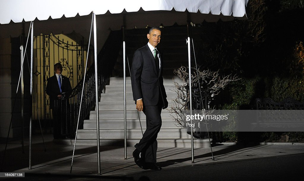 U.S. President Barack Obama leaves the residence to board Marine One to depart the White House on March 19, 2013 in Washington, DC. Obama will travel to Tel Aviv, Israel to attend bilaterals.