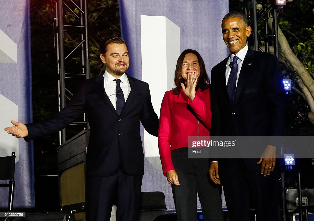 U.S President Barack Obama In Climate Panel Discussion with Leonardo DiCaprio, Dr. Katharine Hayhoe : News Photo