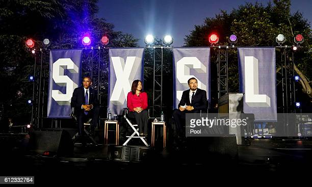 President Barack Obama Leonardo DiCaprio and Dr Katharine Hayhoe arrive at a panel discussion on climate change as part of the White House South by...