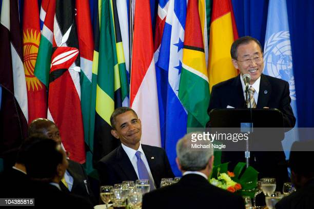 S President Barack Obama listens as Secretary General Ban KiMoon speaks at the State Luncheon during the 65th General Assembly session of the United...