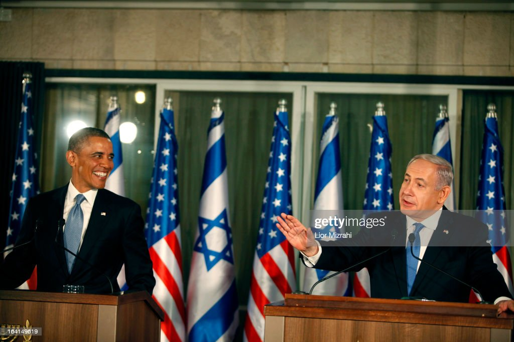 U.S. President Barack Obama (L) listens during a press conference with Israeli Prime Minister Benjamin Netanyahu on March 20, 2013 in Jerusalem, Israel. This is Obama's first visit as President to the region, and his itinerary will include meetings with the Palestinian and Israeli leaders as well as a visit to the Church of the Nativity in Bethlehem.