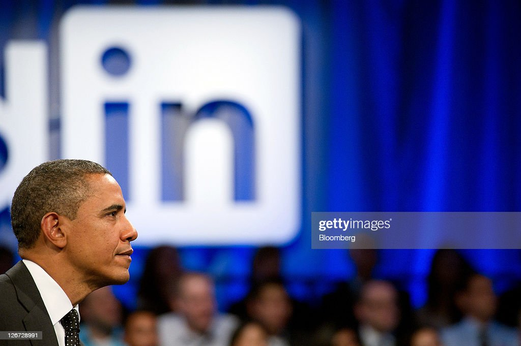 U.S. President Barack Obama listens during a town hall event sponsored by LinkedIn Corp. in Mountain View, California, U.S., on Monday, Sept. 26, 2011. Obama said his $447 billion jobs proposal will give the U.S. economy the 'jump start' it needs to revive job growth. Photographer: David Paul Morris/Bloomberg via Getty Images