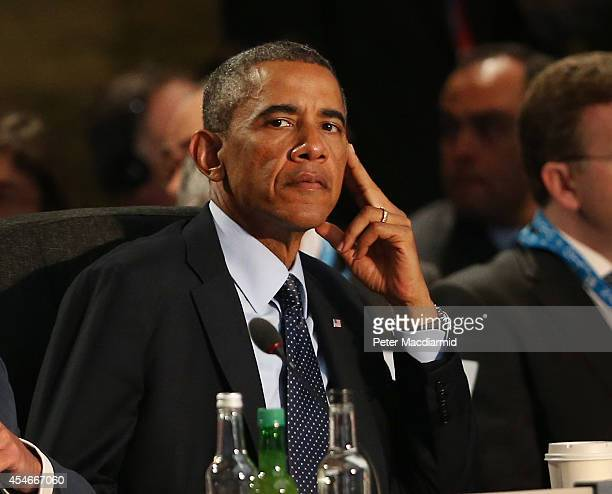 President Barack Obama listens to speeches at the NATO Summit on September 5 2014 in Newport Wales Leaders and senior ministers from around 60...
