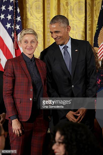 S President Barack Obama listens to the citation for comedian and talk show host Ellen DeGeneres before awarding her the Presidential Medal of...