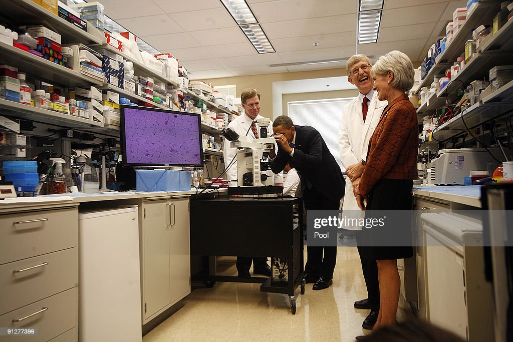 US Pres. Obama Tours National Institutes Of Health