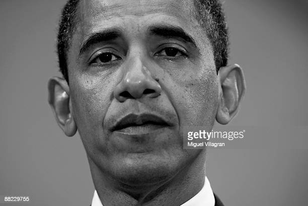 US President Barack Obama looks on during a news conference on June 5 2009 in Dresden Germany Obama will visit Buchenwald a former Nazi concentration...