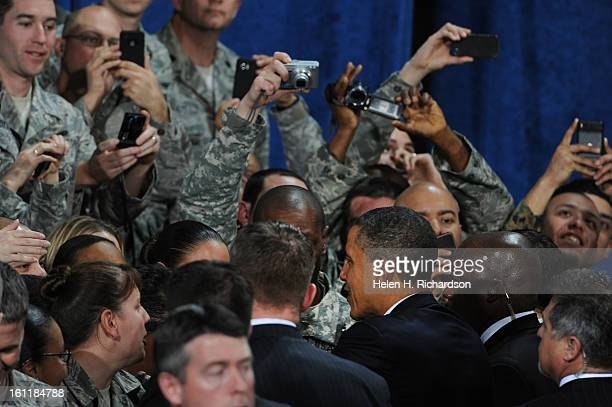 President Barack Obama made an appearance at Buckley Air Force base in Aurora today January 26 2011 Helen H Richardson The Denver PostAfter his...