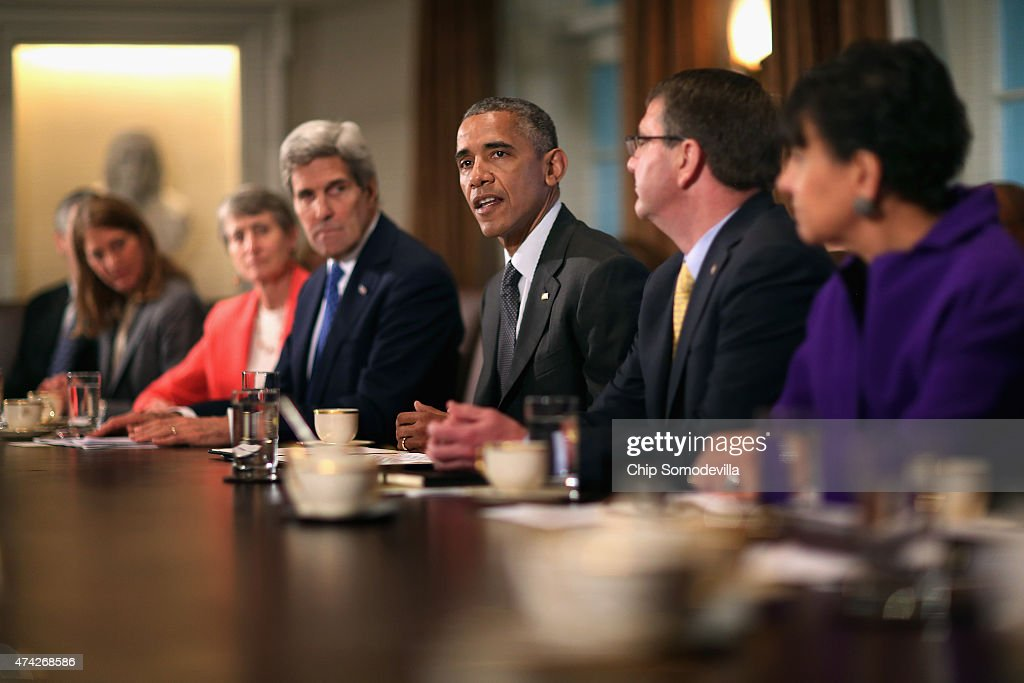 President Obama Holds A Cabinet Meeting At White House : News Photo