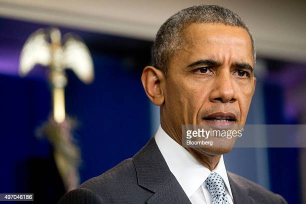 US President Barack Obama makes a statement about multiple acts of violence in Paris in the Brady Press Briefing Room of the White House in...