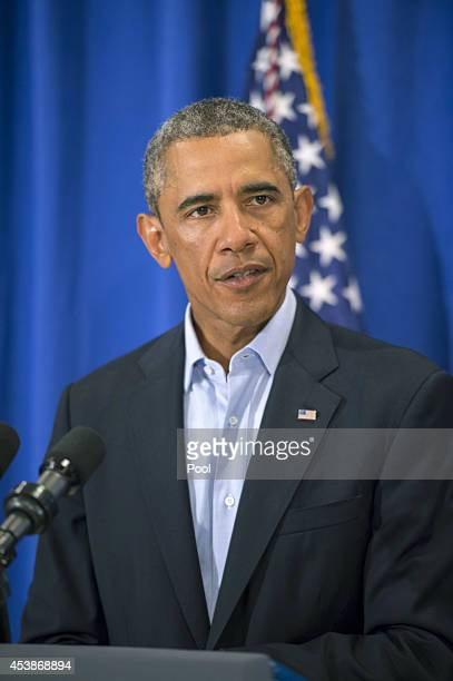 US President Barack Obama makes a statement about the execution of American journalist James Foley by ISIS terrorists in Iraq during a press briefing...