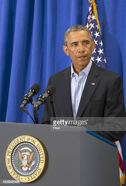 US President Barack Obama makes a statement about the execution of American journalist James Foley by ISIS terrorist in Iraq during a press briefing...