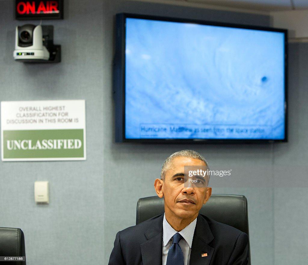 President Barack Obama Makes Statement On Hurricane Matthew : News Photo