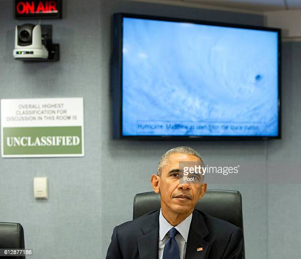 S President Barack Obama makes a statement after receiving a briefing on Hurricane Matthew at the Federal Emergency Management Agency October 5 2016...