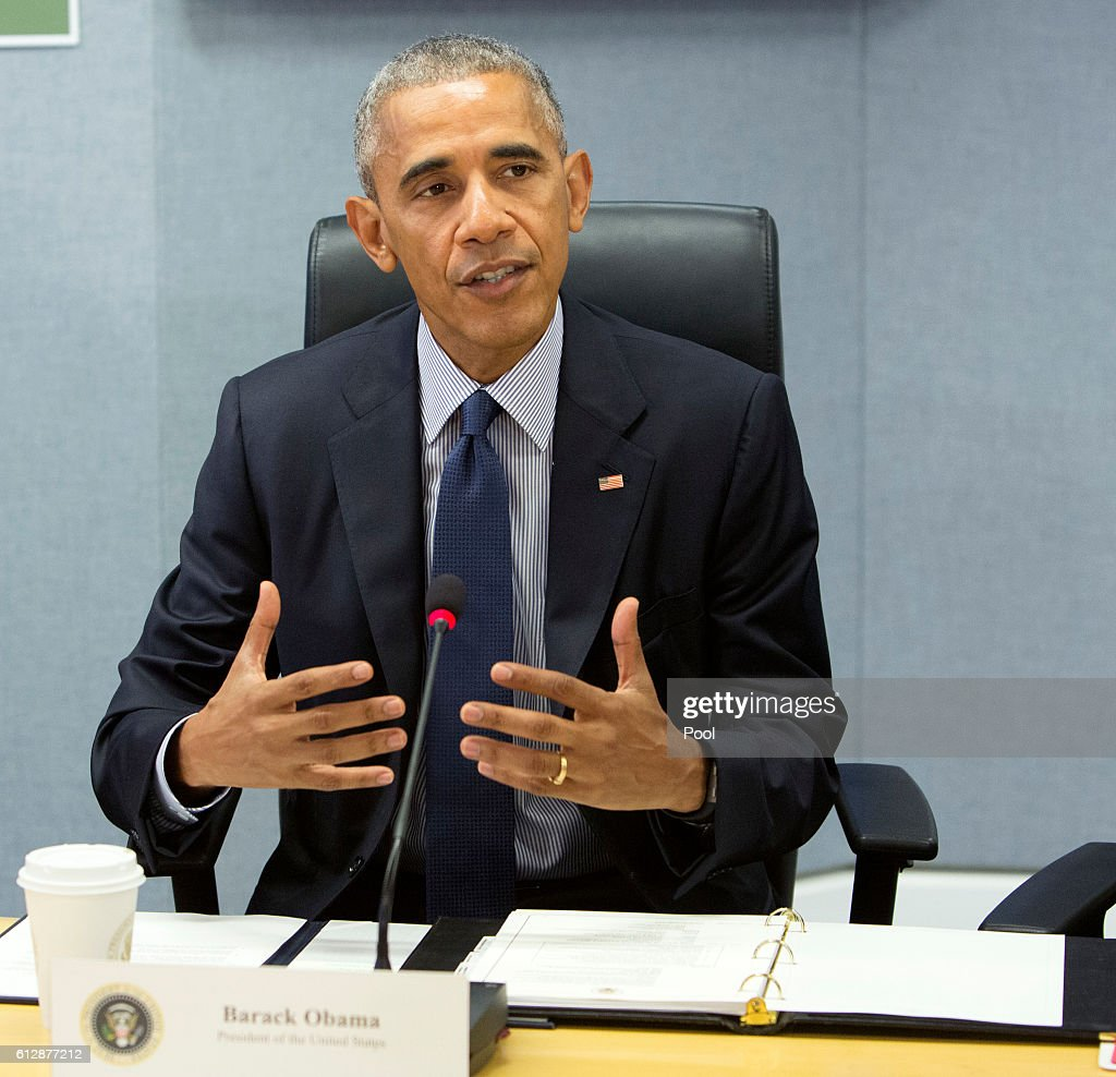 U.S. President Barack Obama makes a statement after receiving a briefing on Hurricane Matthew at the Federal Emergency Management Agency (FEMA) October 5, 2016 in Washington DC. The hurricane has pounded Jamaica and Haiti on its way north toward the U.S. coastline.