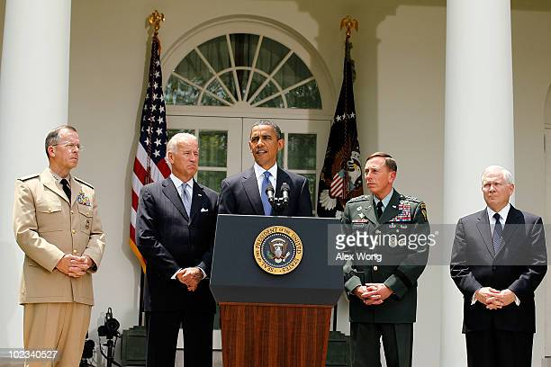 S President Barack Obama makes a statement as Chairman of the Joint Chiefs of Staff Adm Mike Mullen Vice President Joseph Biden Commander of US...
