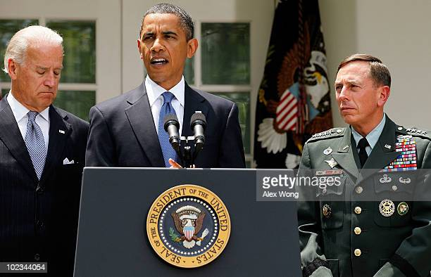 S President Barack Obama makes a statement as Vice President Joseph Biden and Commander of US Central Command Gen David Petraeus listen in the Rose...