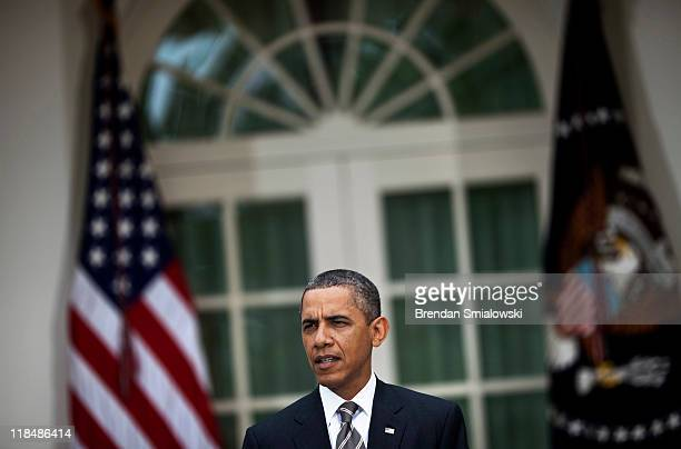 S President Barack Obama makes a statement from the Rose Garden of the White House July 8 2011 in Washington DC President Obama spoke about the...