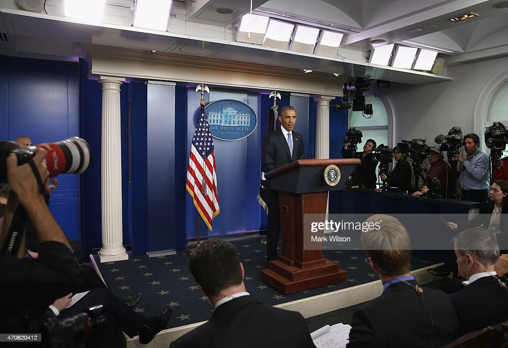 US President Barack Obama makes a statement in the Brady Briefing room at the White House April 23, 2015 in Washington, DC. President Obama talked about a US drone strike that targeted a suspected al Qaeda compound in Pakistan but inadvertently killed an American and Italian being held hostage by the group.