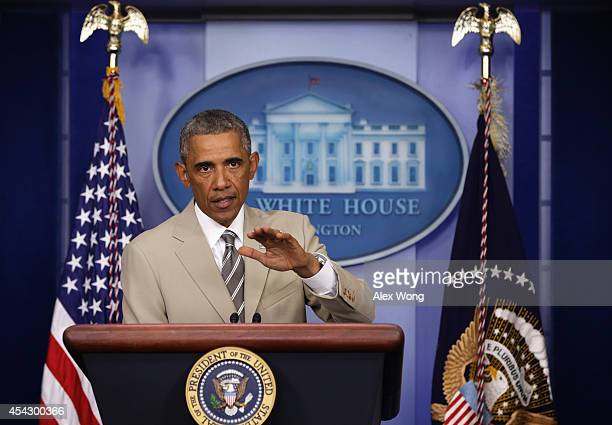 President Barack Obama makes a statement in the James Brady Press Briefing Room of the White House August 28, 2014 in Washington, DC. President Obama...