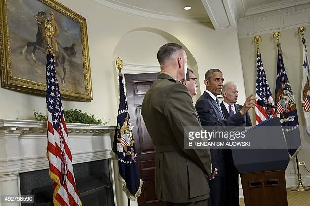 President Barack Obama makes a statement in the Roosevelt Room of the White House October 15, 2015 in Washington, DC. President Obama on Thursday...