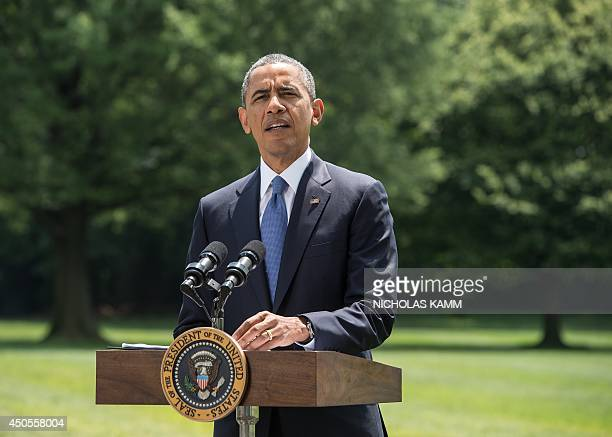 US President Barack Obama makes a statement on Iraq on the South Lawn of the White House in Washington on June 13 2014 Obama said Friday that he is...