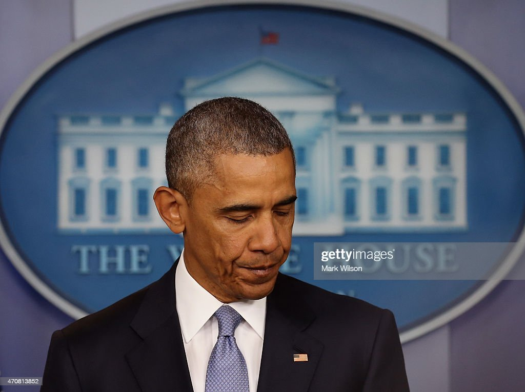 US President Barack Obama makes a statement on the Brady Briefing room at the White House April 23, 2015 in Washington, DC. President Obama talked about a US drone strike that targeted a suspected al Qaeda compound in Pakistan but inadvertently killed an American and Italian being held hostage by the group.