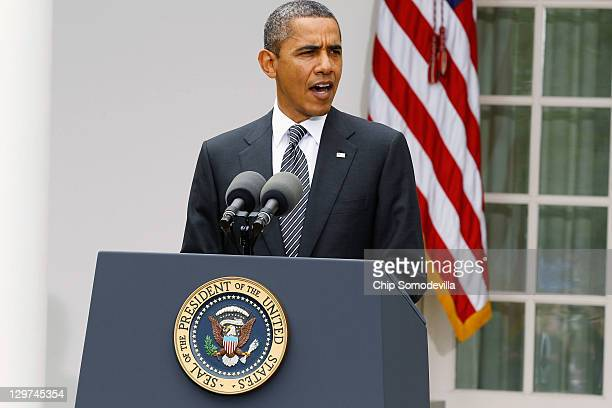 S President Barack Obama makes a statement on the death of Libyan strongman Muammar Gaddafi in the Rose Garden of the White House October 20 2011 in...