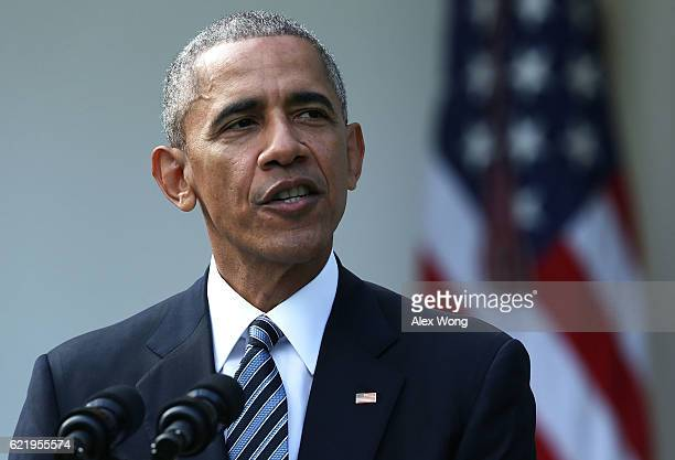 S President Barack Obama makes a statement on the election results at the Rose Garden of the White House November 9 2016 in Washington DC Republican...