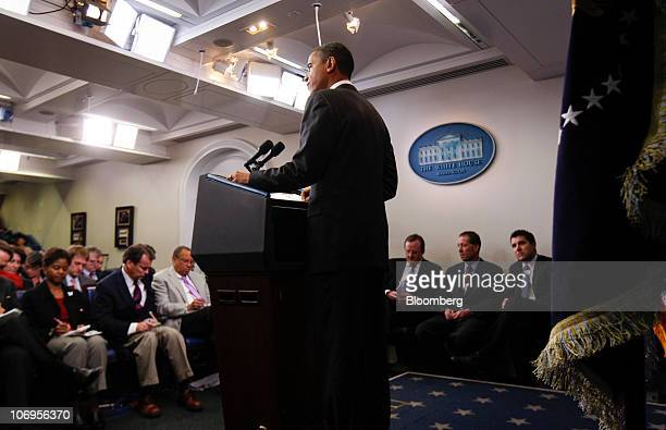 US President Barack Obama makes a statement on the General Motors Co initial public offering in the James Brady briefing room at the White House in...