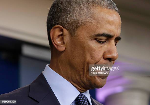 US President Barack Obama makes a statement on the mass shooting at an Orlando Florida nightclub in the White House Briefing Room in Washington DC on...
