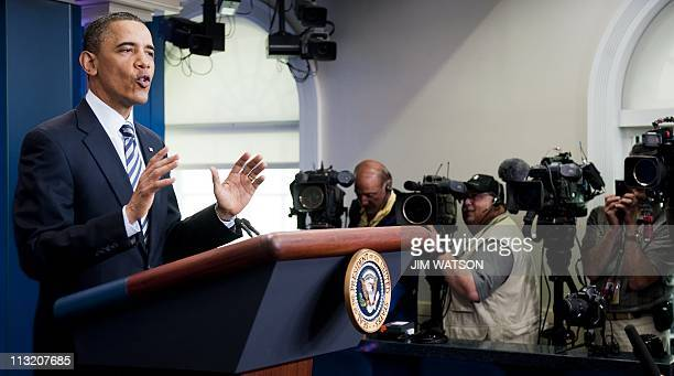 US President Barack Obama makes a statement on the release of his longform birth certificate in the Brady press briefing room at the White House in...