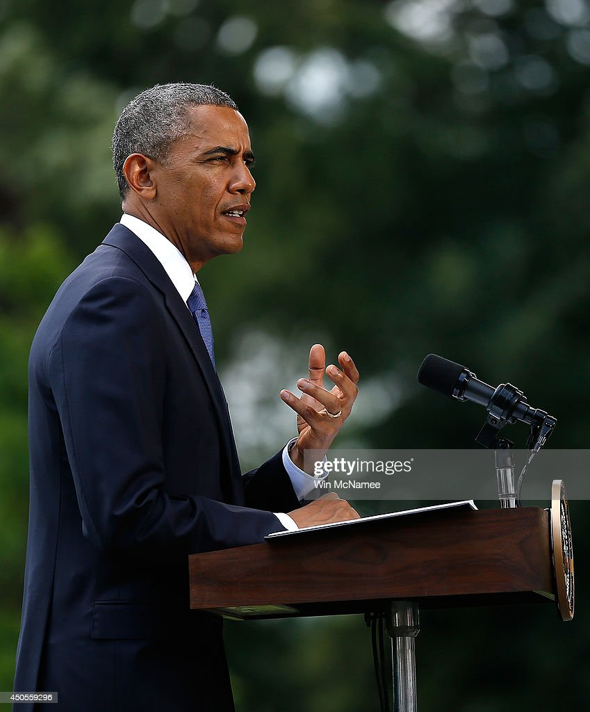 U.S. President Barack Obama makes a statement on the situation in Iraq June 11, 2014 on the south lawn of the White House in Washington, DC. Obama said he will make a decision in the 'days ahead' about the use of American military power to aid the Iraqi government in its battle against Islamic insurgents.