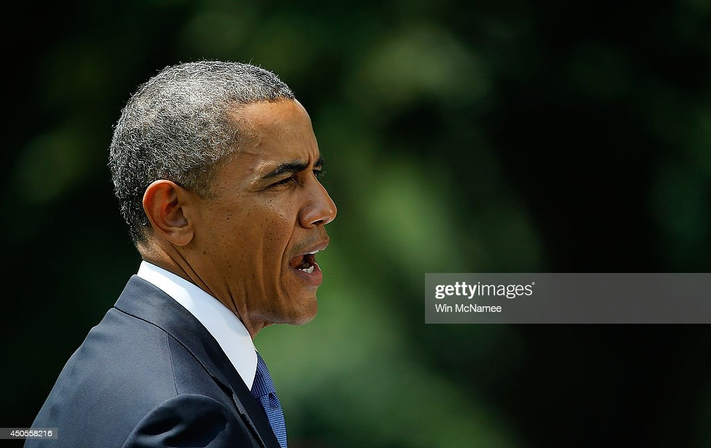 U.S. President Barack Obama makes a statement on the situation in Iraq June 13, 2014 on the south lawn of the White House in Washington, DC. Obama said he will make a decision in the 'days ahead' about the use of American military power to aid the Iraqi government in its battle against Islamic insurgents.