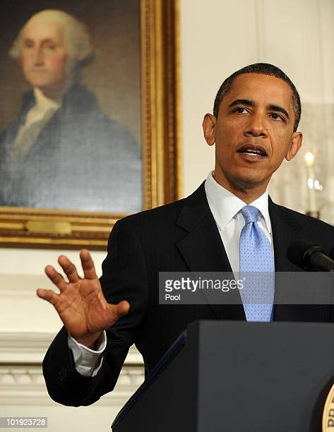 S President Barack Obama makes a statement regarding a United Nations Security Council vote on new sanctions for Iran in the Diplomatic Reception...