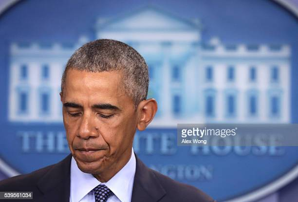 S President Barack Obama makes a statement regarding the Orlando mass shooting on June 12 2016 in Washington DC At least 50 people were killed and 53...